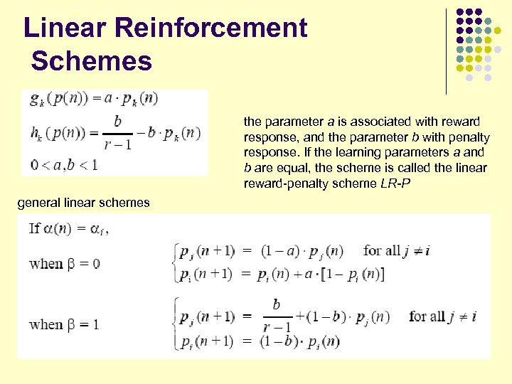 Linear Reinforcement Schemes the parameter a is associated with reward response, and the parameter