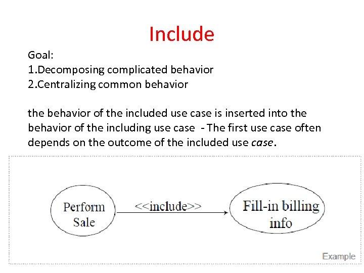 Include Goal: 1. Decomposing complicated behavior 2. Centralizing common behavior the behavior of the