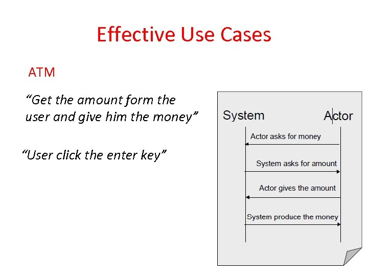 "Effective Use Cases ATM ""Get the amount form the user and give him the"