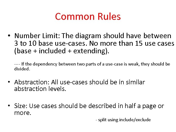 Common Rules • Number Limit: The diagram should have between 3 to 10 base