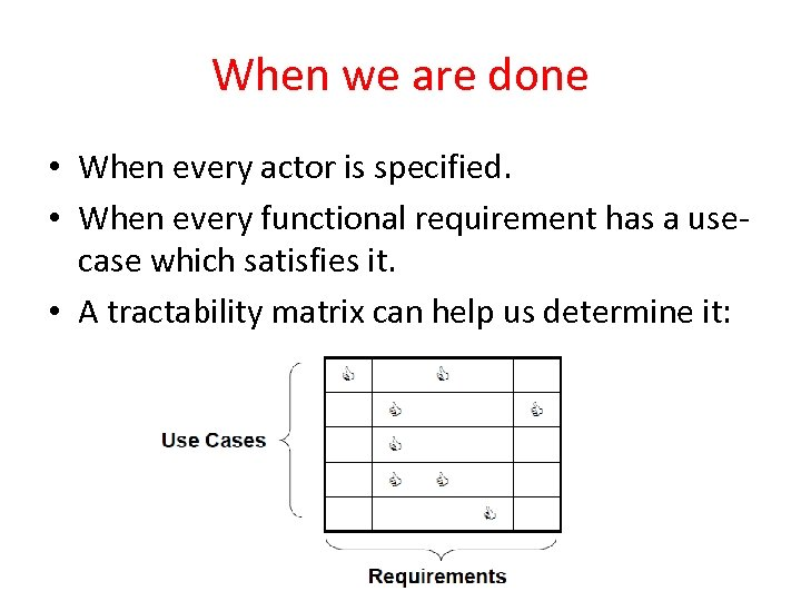 When we are done • When every actor is specified. • When every functional