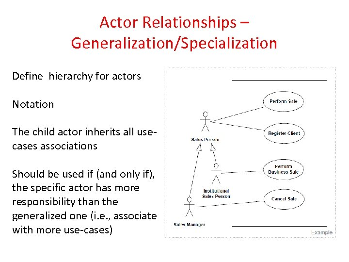 Actor Relationships – Generalization/Specialization Define hierarchy for actors Notation The child actor inherits all