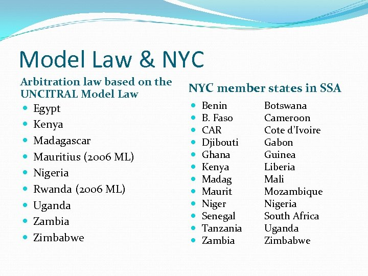 Model Law & NYC Arbitration law based on the UNCITRAL Model Law Egypt Kenya
