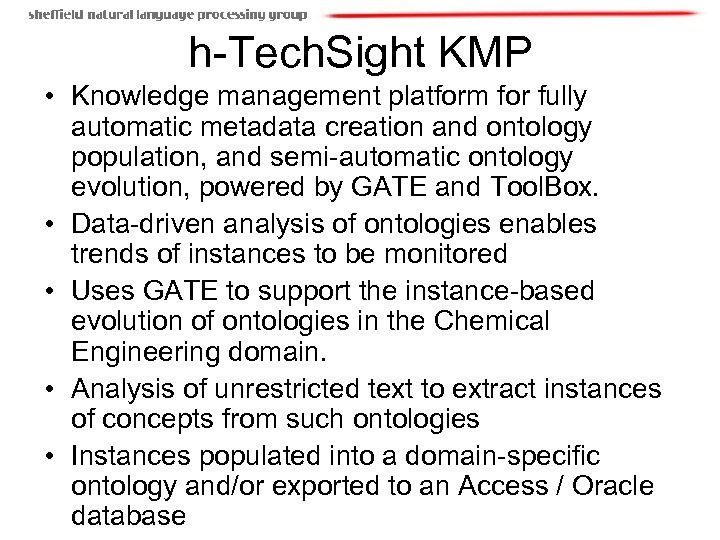 h-Tech. Sight KMP • Knowledge management platform for fully automatic metadata creation and ontology
