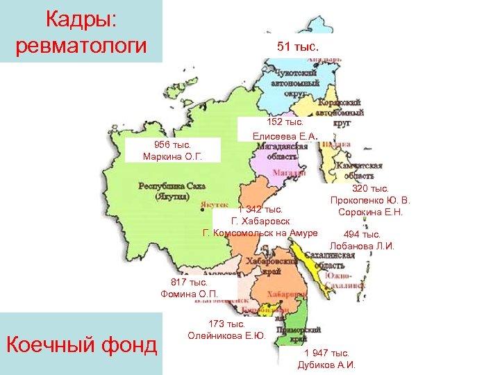Кадры: ревматологи 51 тыс. 956 тыс. Маркина О. Г. 152 тыс. Елисеева Е. А.