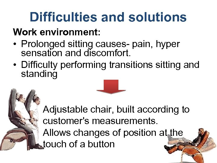 Difficulties and solutions Work environment: • Prolonged sitting causes- pain, hyper sensation and discomfort.