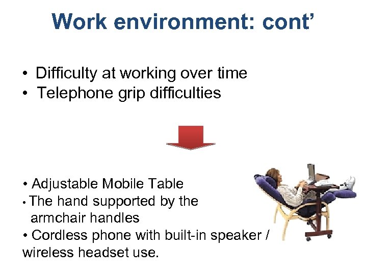 Work environment: cont' • Difficulty at working over time • Telephone grip difficulties •
