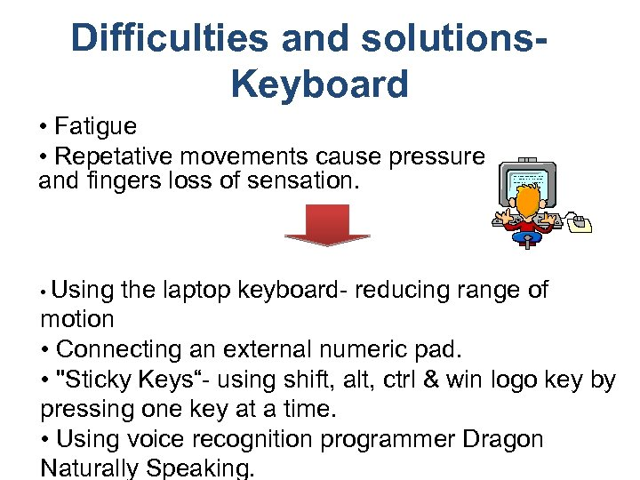 Difficulties and solutions. Keyboard • Fatigue • Repetative movements cause pressure and fingers loss