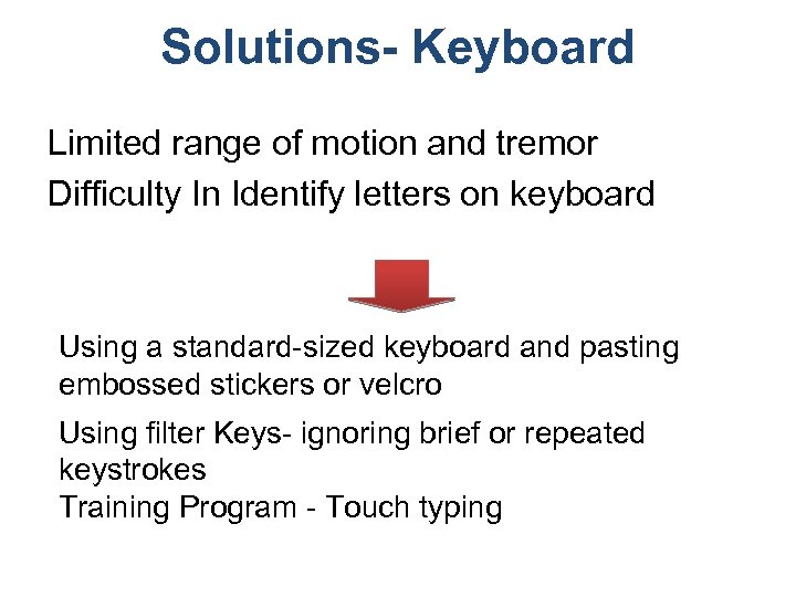 Solutions- Keyboard Limited range of motion and tremor Difficulty In Identify letters on keyboard