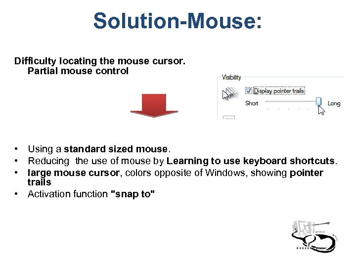 Solution-Mouse: Difficulty locating the mouse cursor. Partial mouse control • Using a standard sized