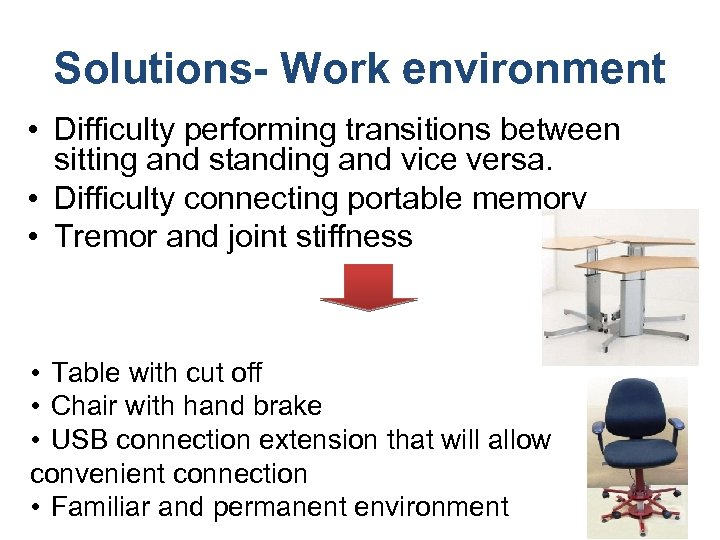 Solutions- Work environment • Difficulty performing transitions between sitting and standing and vice versa.