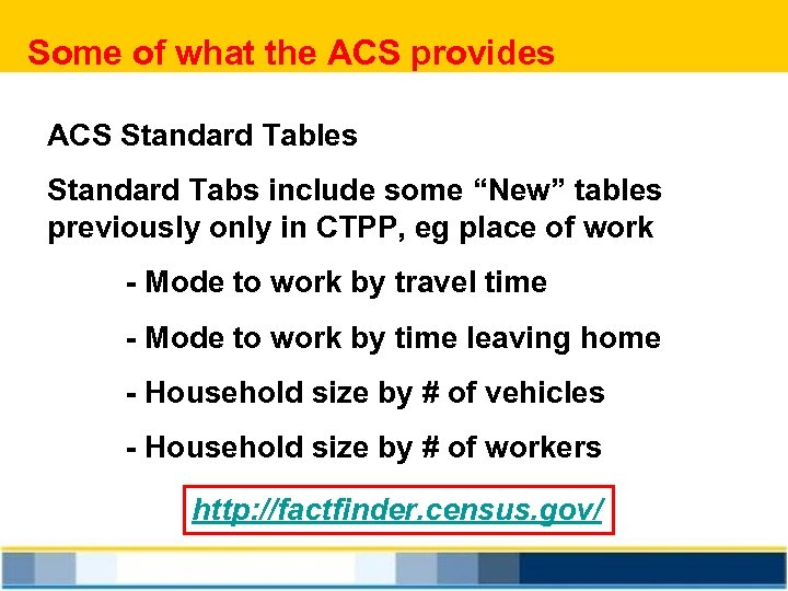 """Some of what the ACS provides ACS Standard Tables Standard Tabs include some """"New"""""""