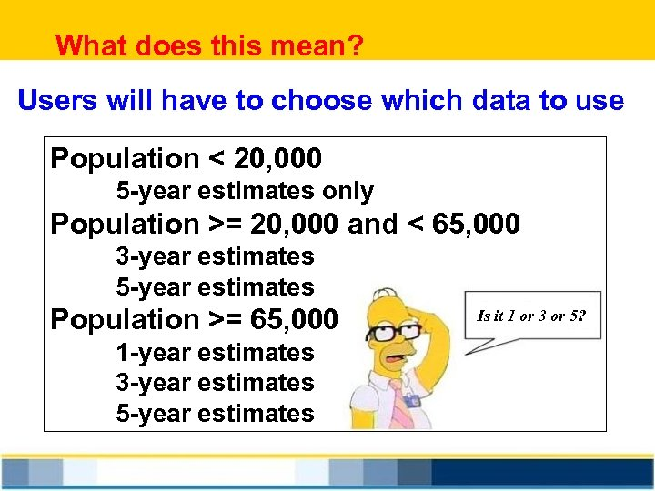 What does this mean? Users will have to choose which data to use Population