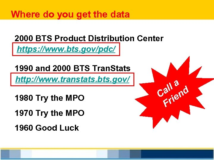 Where do you get the data 2000 BTS Product Distribution Center https: //www. bts.