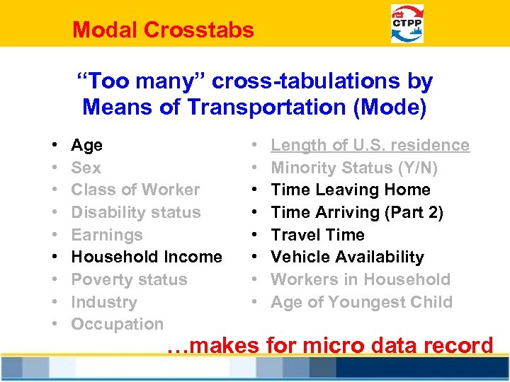 """Modal Crosstabs """"Too many"""" cross-tabulations by Means of Transportation (Mode) • • • Age"""