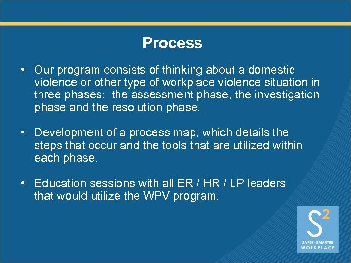 Process • Our program consists of thinking about a domestic violence or other type