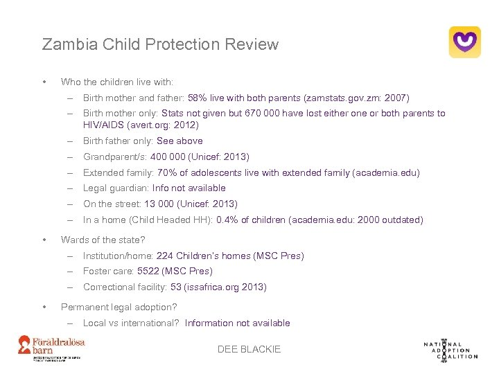 Zambia Child Protection Review • Who the children live with: – Birth mother and