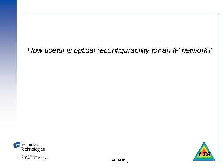 How useful is optical reconfigurability for an IP network? LTS AVL-UMBC 11 .