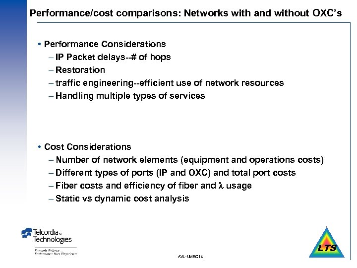 Performance/cost comparisons: Networks with and without OXC's Performance Considerations – IP Packet delays--# of