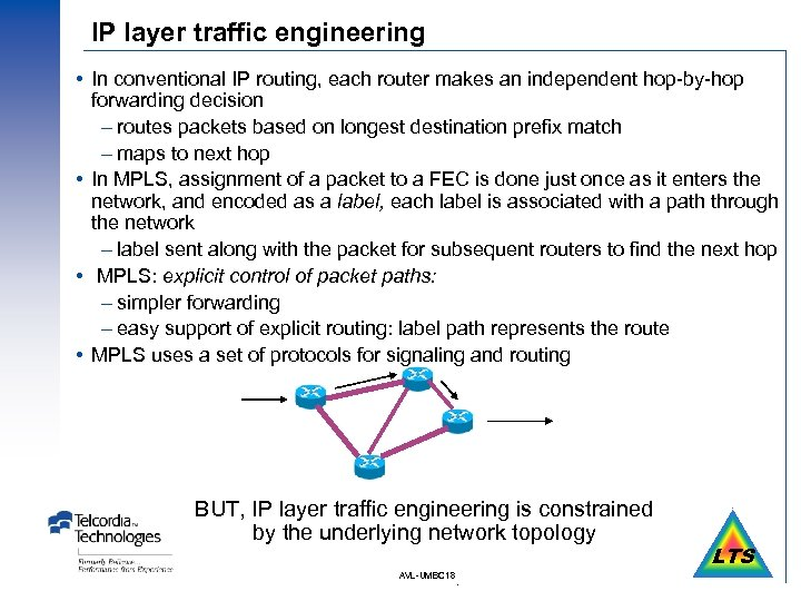 IP layer traffic engineering In conventional IP routing, each router makes an independent hop-by-hop