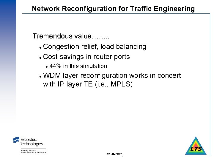 Network Reconfiguration for Traffic Engineering Tremendous value……. . l Congestion relief, load balancing l
