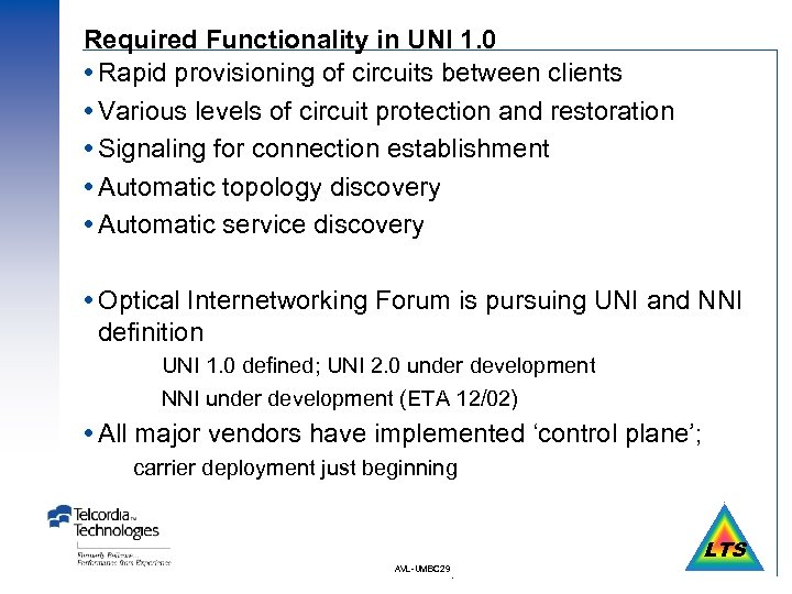 Required Functionality in UNI 1. 0 Rapid provisioning of circuits between clients Various levels