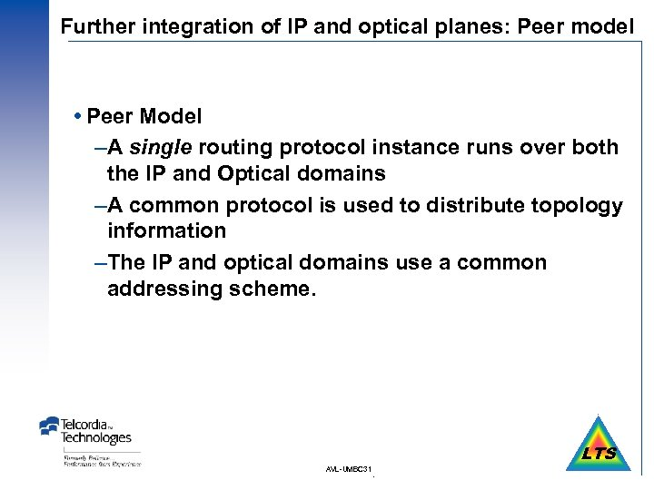 Further integration of IP and optical planes: Peer model Peer Model –A single routing