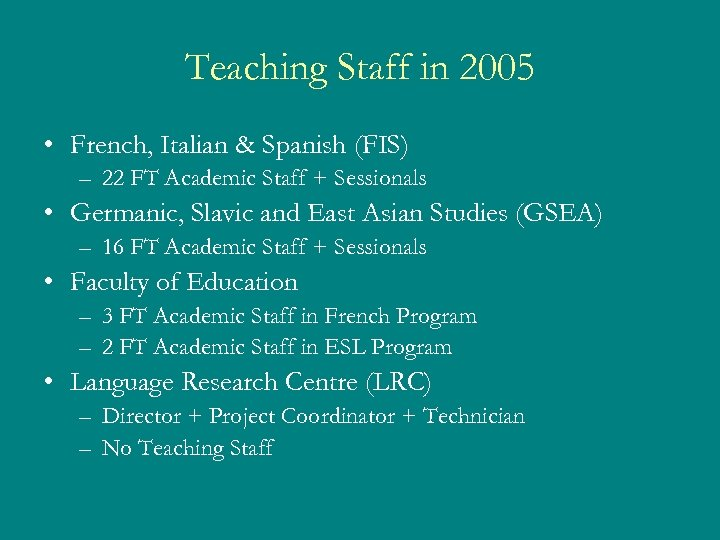 Teaching Staff in 2005 • French, Italian & Spanish (FIS) – 22 FT Academic