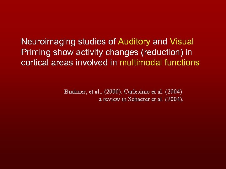 Neuroimaging studies of Auditory and Visual Priming show activity changes (reduction) in cortical areas