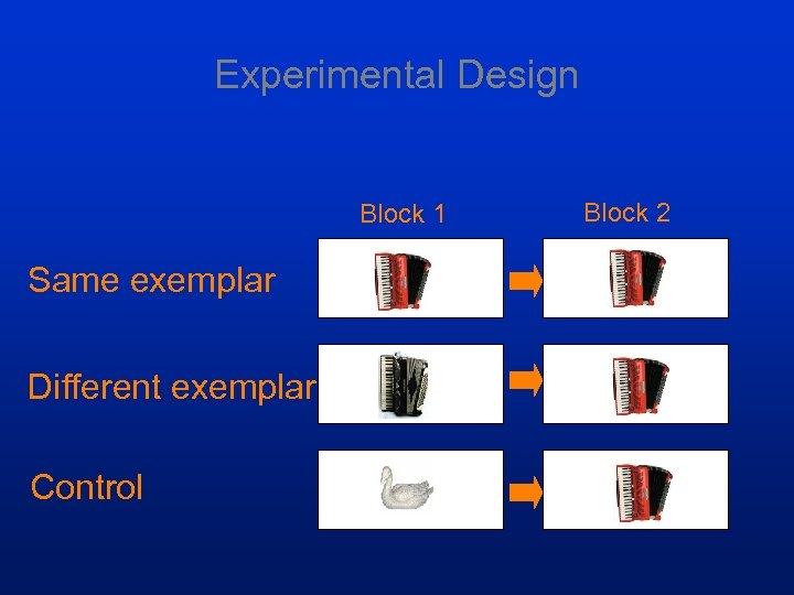 Experimental Design Block 1 Same exemplar Different exemplar Control Block 2