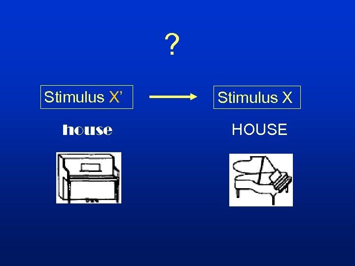 ? Stimulus X' Stimulus X house HOUSE