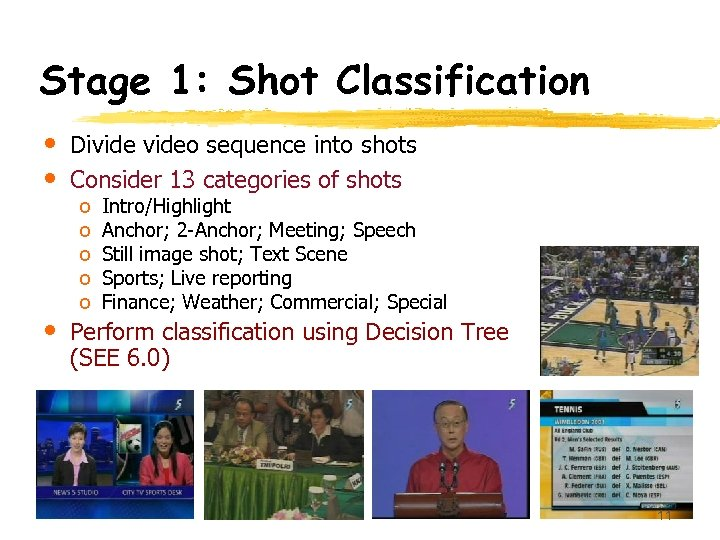 Stage 1: Shot Classification • • Divideo sequence into shots Consider 13 categories of