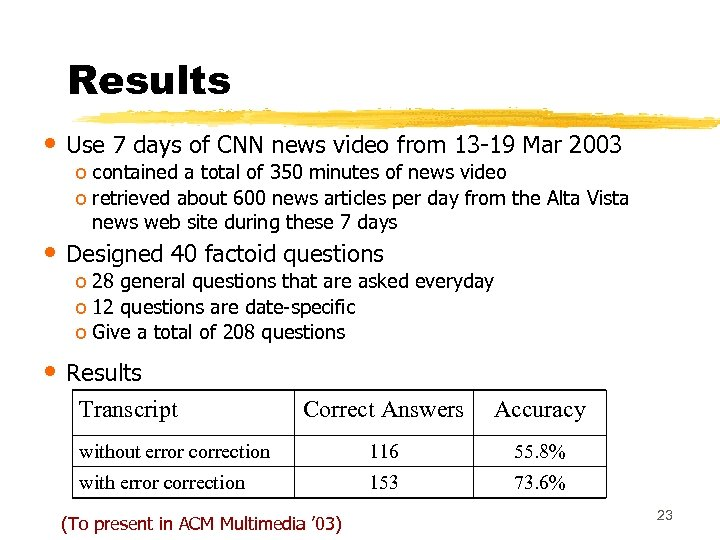 Results • Use 7 days of CNN news video from 13 -19 Mar 2003