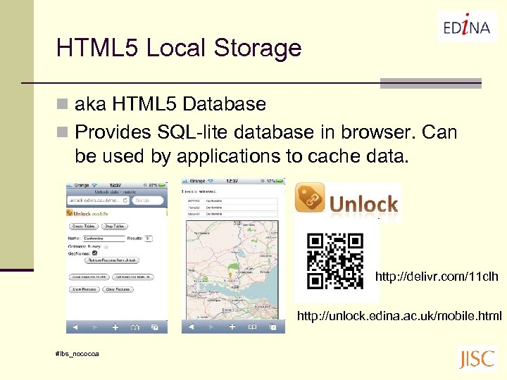 HTML 5 Local Storage n aka HTML 5 Database n Provides SQL-lite database in