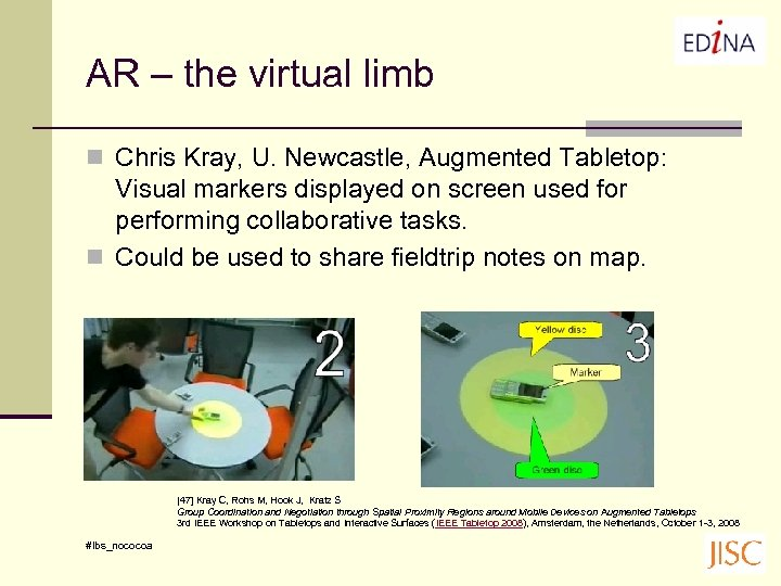 AR – the virtual limb n Chris Kray, U. Newcastle, Augmented Tabletop: Visual markers