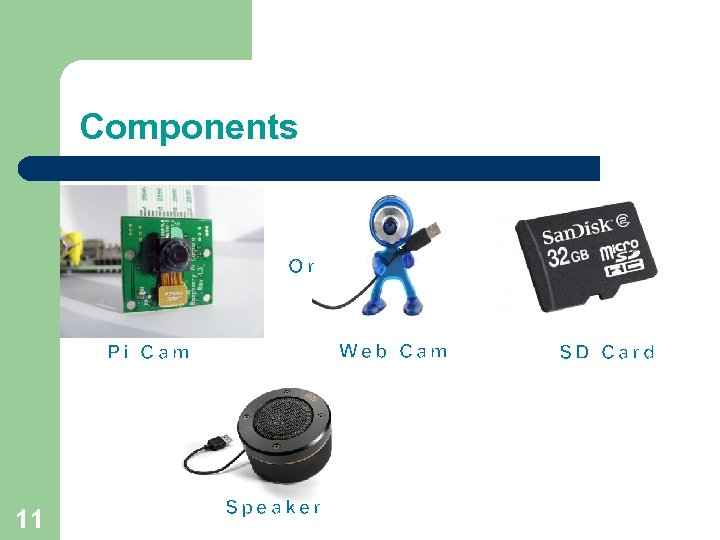 Components Or Web Cam Pi Cam 11 Speaker SD Card