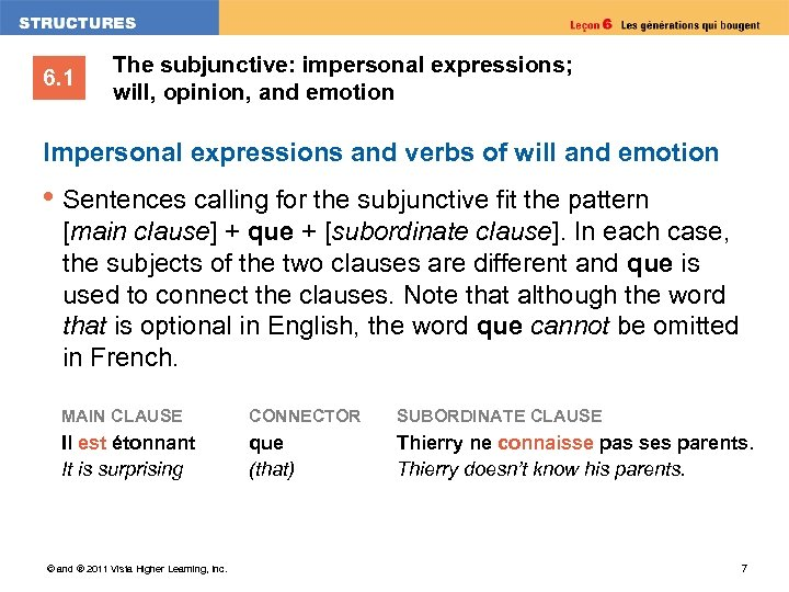 6. 1 The subjunctive: impersonal expressions; will, opinion, and emotion Impersonal expressions and verbs