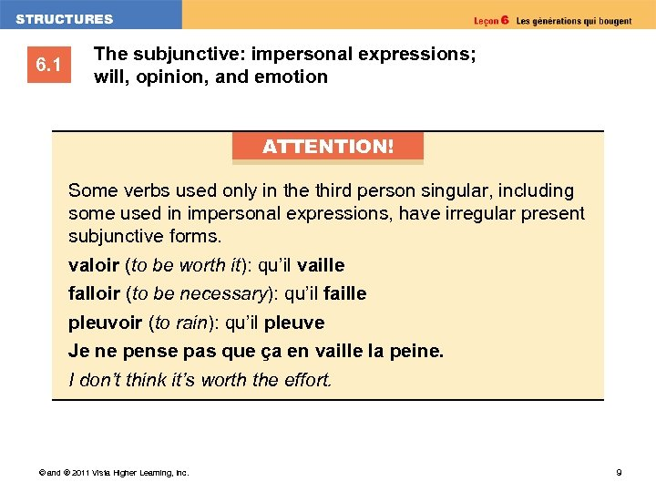 6. 1 The subjunctive: impersonal expressions; will, opinion, and emotion ATTENTION! Some verbs used