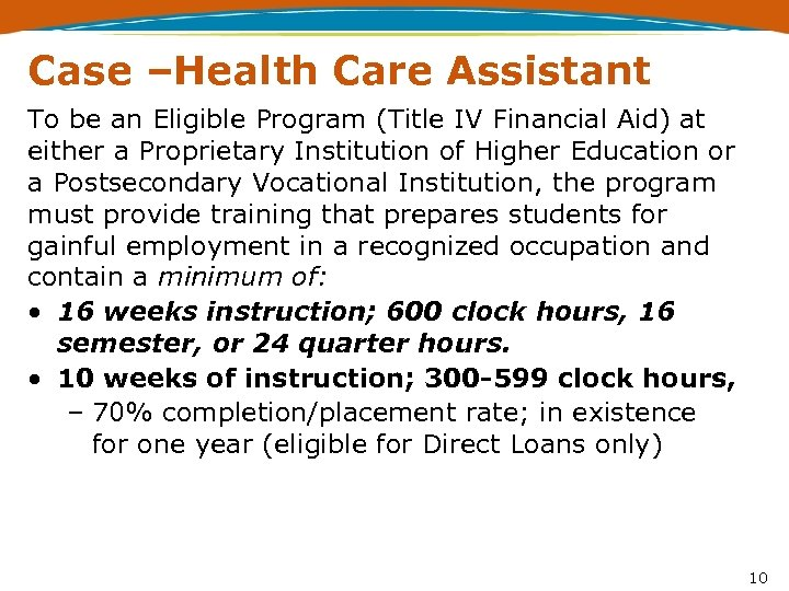 Case –Health Care Assistant To be an Eligible Program (Title IV Financial Aid) at