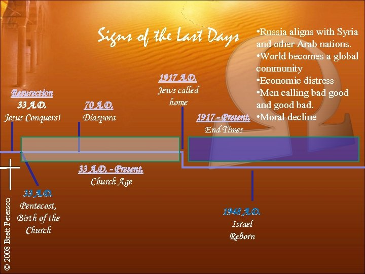 Signs of the Last Days Resurection 33 A. D. Jesus Conquers! 70 A. D.