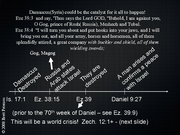Damascus(Syria) could be the catalyst for it all to happen! Eze 38: 3 and