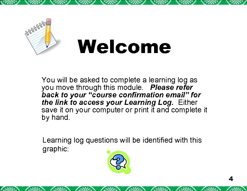 Welcome You will be asked to complete a learning log as you move through