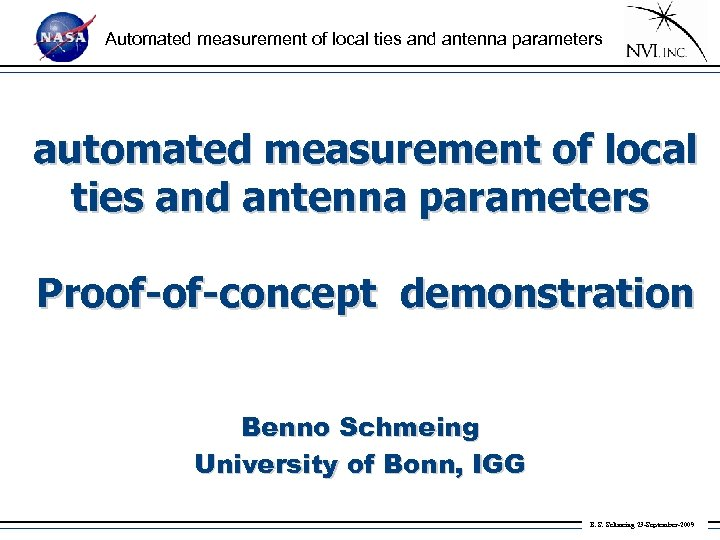 Automated measurement of local ties and antenna parameters automated measurement of local ties and