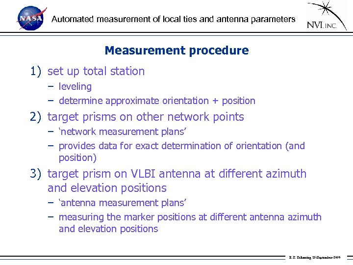 Automated measurement of local ties and antenna parameters Measurement procedure 1) set up total