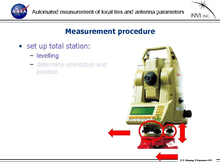 Automated measurement of local ties and antenna parameters Measurement procedure • set up total