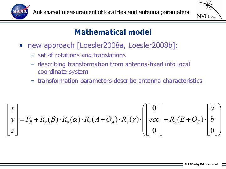 Automated measurement of local ties and antenna parameters Mathematical model • new approach [Loesler