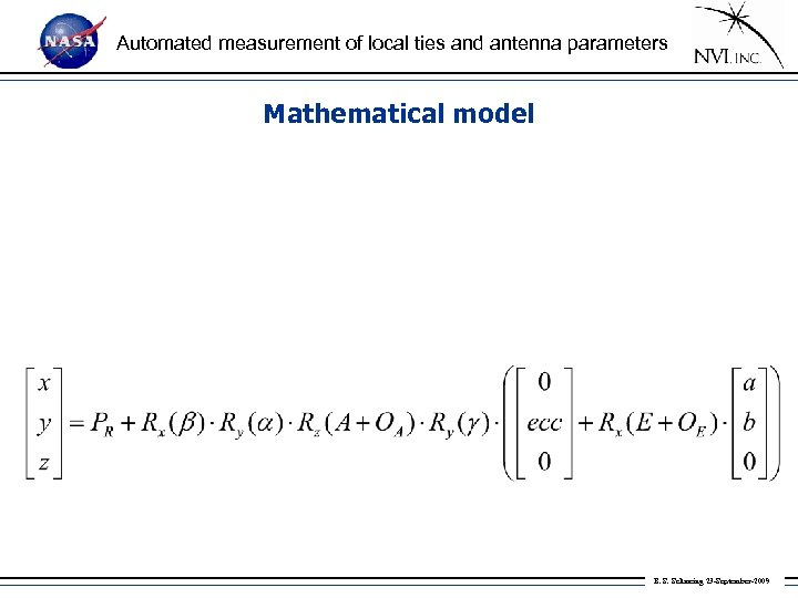 Automated measurement of local ties and antenna parameters Mathematical model B. S. Schmeing 23