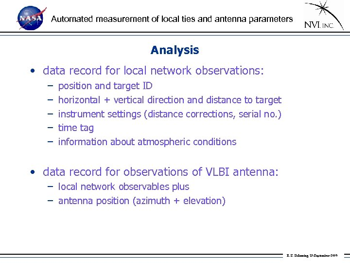 Automated measurement of local ties and antenna parameters Analysis • data record for local