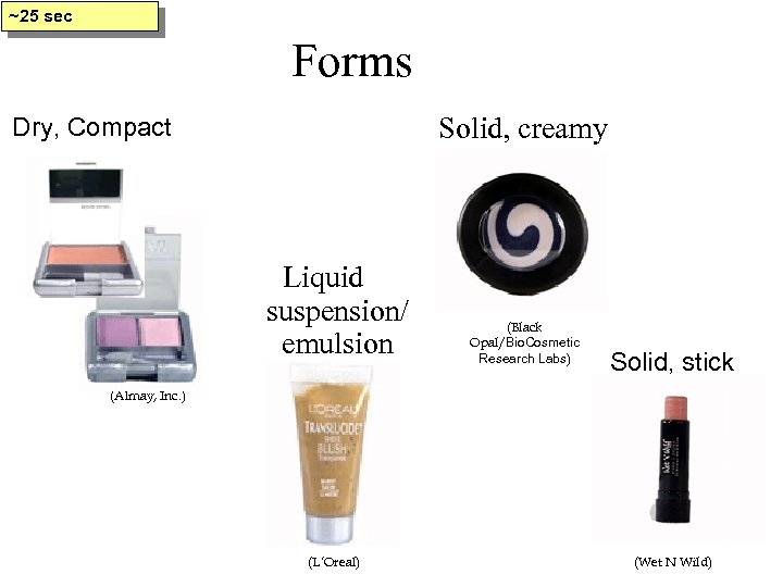 ~25 sec Forms Solid, creamy Dry, Compact Liquid suspension/ emulsion (Black Opal/Bio. Cosmetic Research