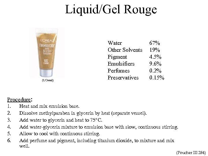Liquid/Gel Rouge (L'Oreal) Procedure: 1. 2. 3. 4. 5. 6. Water (softened or distilled)